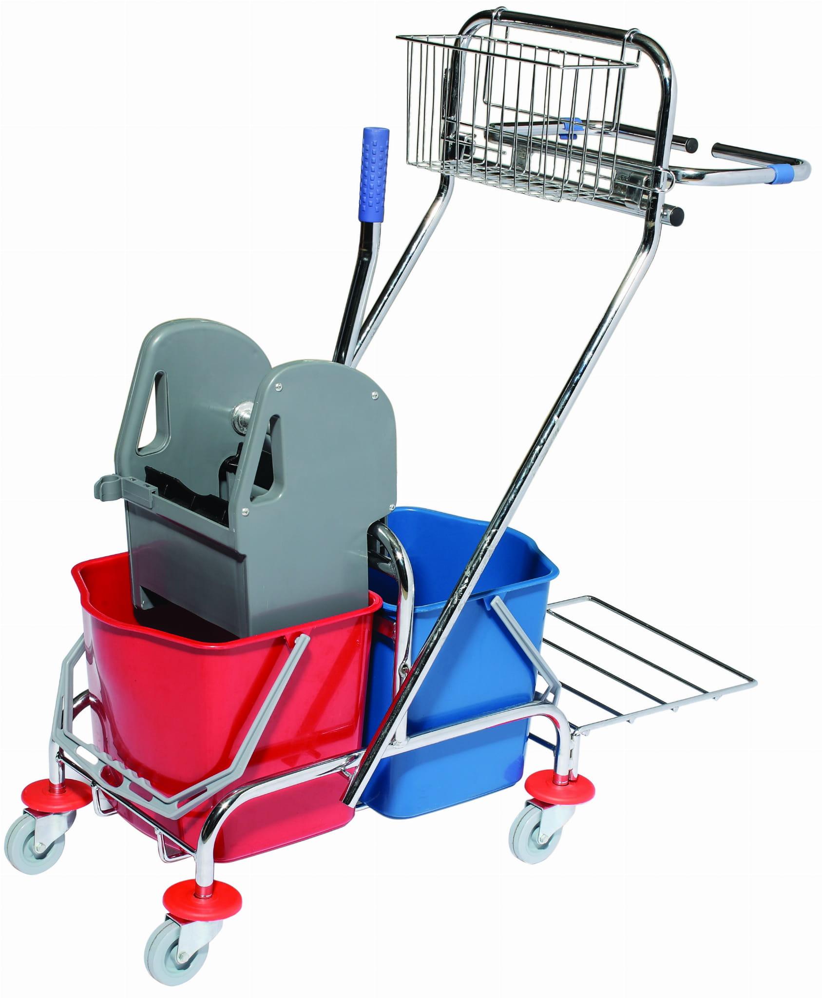 Wózek do sprzątania 2 x 17 L chrom wyciskarka koszyk uchwyt worka